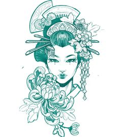 "Teniele Sadd on Instagram: ""For Tania. #maiko #geisha #girltattoo #japanesetattoo #japanesetattooart #tattoosketch"" Japanese Geisha Tattoo, Japanese Back Tattoo, Japanese Tattoo Designs, Japanese Tattoos, Geisha Drawing, Geisha Art, Tattoo Sketches, Art Sketches, Art Drawings"