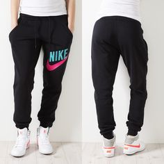 NIKE SWEAT PANTS | Nike Relaxed Cuffed Sweat Pants Black/Pink Force