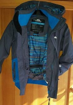 Trespass Orville Waterproof Boys Grey Blue Ski Winter Coat Jacket Size 3-4 yrs