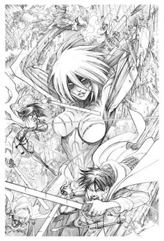 "Gerardo Sandoval Marvel/'Attack on Titan' ""Attack on Avengers"" pencils for the exclusive limited edition Festo Comic festival in Mexico City print."