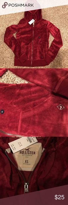 Hollister velvet jacket BRAND NEW Hollister soft velvet material jacket size x small ... color maroon/burgundy Hollister Jackets & Coats