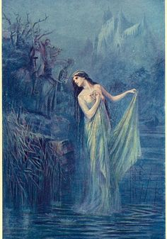 The Lady of the Lake, Lady of Avalon, is the title name of the ruler of Avalon in the Arthurian legend. There are several related characters in the role which include giving King Arthur his sword Excalibur, enchanting Merlin, and raising Lancelot after the death of his father. Different writers and copyists give her name variously as Nimue, Viviane, Elaine, Niniane, Nivian, Nyneve, Evienne and other variations.