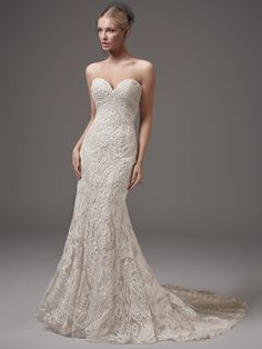 Sottero and Midgley by Maggie Sottero This alluring fit-and-flare features striking lace motifs, a low back, and a sexy sweetheart neckline accented with a shimmer of sequins an Fit And Flare Wedding Dress, Perfect Wedding Dress, Wedding Dress Styles, Bridal Dresses, Lace Wedding, Sottero And Midgley Wedding Dresses, Sottero Midgley, Wedding Gown Gallery, Designer Wedding Gowns