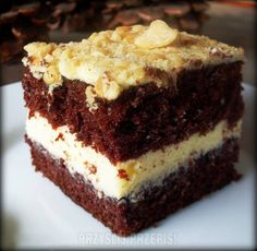 Ciasto Czarna Owca - kakaowe z kremem i dżemem - PrzyslijPrzepis.pl Sweet Recipes, Cake Recipes, Polish Recipes, Polish Food, Unique Desserts, Sweets Cake, Pie Dessert, Dessert Ideas, Homemade Cakes