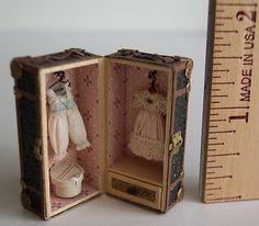 Artist Renee Delaney Handmade Miniature Antique Trunk with Clothing Hatbox