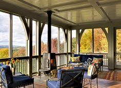 Porch wood burning stove Design Ideas, Pictures, Remodel and Decor Screened Porch Designs, Screened In Porch, Porch Swing, Front Porch, Back Porches, Decks And Porches, Outdoor Rooms, Outdoor Living, Outdoor Patios