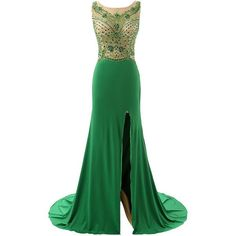 Lovelybride Illusion Beading Bodice Long Slit Green Evening Dresses... ❤ liked on Polyvore featuring dresses, gowns, gown, long slit dress, long gowns, long beaded dress, long beaded gown and long evening gowns