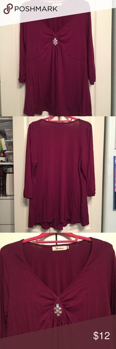 """Maroon blouse with bling NWOT ... bought online and doesn't fit.  Cannot return.  Didn't come with tags.  Says 3x but fits more like a true XL or 1x. Soft fabric with bling mid bosom.  Can be sexy for the right person.  Length hits high in the hips and I'm 5'6"""" fashion Tops Blouses"""