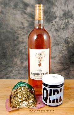 Goats milk cheese garnished with fresh tarragon and chilled Rosé make a picnic-perfect pairing.