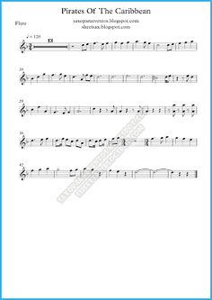 Pirates of the Caribbean music score and playalong for wind quintet | Free sheet music for flute