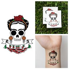 Frida Kahlo Skull - Temporary Tattoo (Set of 2)