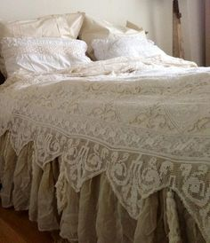 Love this crocheted coverlet...