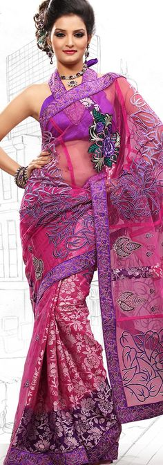 $59.03 Bluish Purple and Pink Net Latest Fashion Saree 16712 With Unstitched Blouse