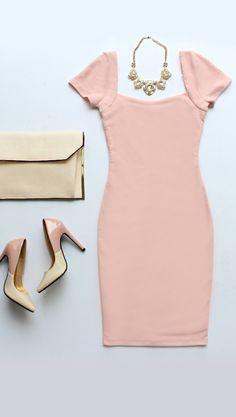 Photo Opportunist Blush Pink Bodycon Mini Dress