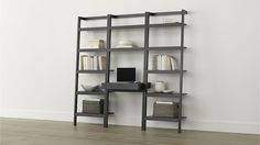 "Sawyer Grey Leaning Desk with Two 24.5"" Bookcases 