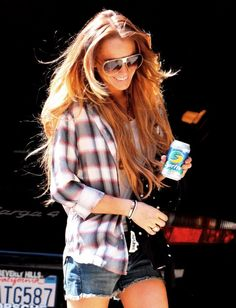 Lindsay Lohan. Love her hair, sunnies and the outfit!