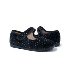cba6ccdfd66 Girl s Velvet Black and Silver Dots Mary Janes