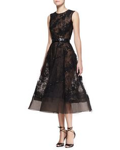 Sleeveless Sheer Lace Beaded Dress by Oscar de la Renta at Neiman Marcus.  Oh how I love this dress!!