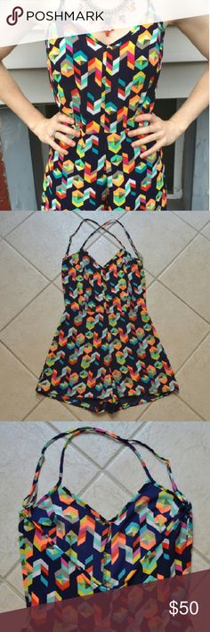 """SAGE Brand Geometric Print Romper Open Cross Back * excellent condition, worn twice * open back with adjustable cross straps, mid back zipper * bottom is lined, top is not (it isn't sheer, but don't wear bright/printed underwear underneath) * size tag says Small but this is tiny - fits XS/0 - perfect for petite frames, if your hip measurement is > 32"""" you may not be able to pull this over your hips even with the zipper down since the  * measurements laying flat: bust 15-16"""", waist 13.5""""…"""
