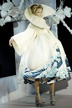 hokusai wave dress | John Galliano's couture presentations are always a spectacle, and ...