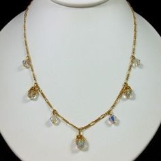 """AVON AB Crystal Briolette Necklace Gold Plated 17""""L Very Pretty! $20.00"""