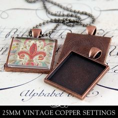 Vintage Copper Square Bezel Pendant Tray with by AnnieHowes, $12.50