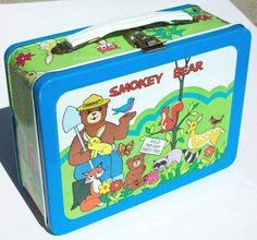 """Smokey Bear Antique Lunch Box (Vintage 1975 Metal Lunchbox, """"Help Prevent Forest Fires"""", Okay Industries)"""
