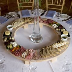 Put this on a lazy Susan idea and this could be fun for the dancing hour or a short cocktail hour B. Events Catering in Charleston WV (Sandebel Rhodes). Party and Catering Ideas. Wedding Reception Food, Wedding Catering, Wedding Snacks, Wedding Appetizers, Catering Food, Pizza Wedding, Catering Buffet, Catering Display, Round Table Wedding