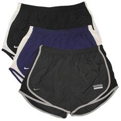 Nike women's black, anthracite, or purple shorts with Northern Iowa Panthers Athletics on left leg. $34.99