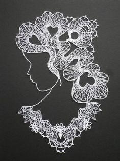 Image associée Zentangle, Madonna, Sewing, Crafts, Silhouettes, Image, Kuchen, Faces, Bobbin Lace