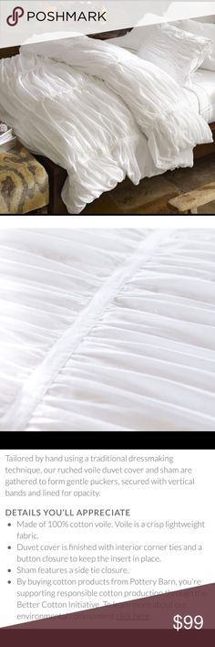 Pottery Barn Hadley Ruched Duvet & Pillowcases New condition White KING SIZE Pottery Barn Hadley Ruched Duvet Cover with 2 king and 2 standard pillowcases. Smoke free/pet free home. Pottery Barn Other