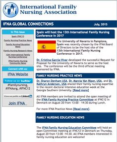 International Family Nursing Association (IFNA) #IFNAorg July 2015 Newsletter  #familynursing #familyhealth #familyhealing