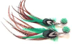 0g Turquoise Rose Feather Plugs 2g, 4g, 6g Dangle Plugs With Feathers - Feather Earrings for GAUGED Ears Choose Rose Color on Etsy, $44.00