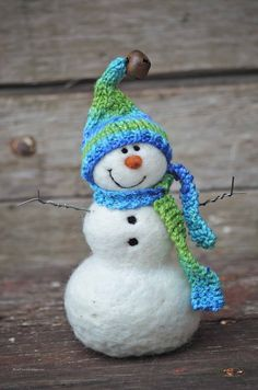 Needle Felted Snowman 636 by BearCreekDesign on Etsy