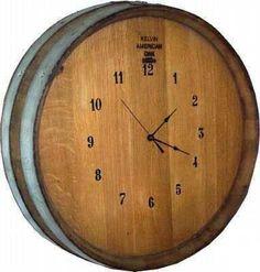 Wine barrel clock.  It's always WINE TIME!