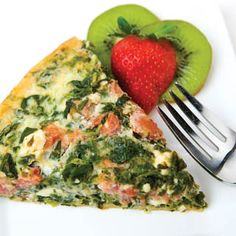 Mediterranean Spinach Quiche ECB - I added diced turkey ham, chopped green onions and a little mozzerella. Mediterranean Breakfast, Mediterranean Recipes, Light Recipes, Breakfast Recipes, Breakfast Quiche, Love Food, Healthy Eating, Healthy Pizza, Spinach