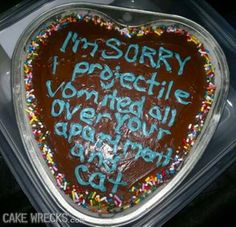 "The best way to say, ""I'm Sorry"". Cake Wrecks, Thursday Humor, Say Im Sorry, Funny Cake, Haha Funny, Funny Stuff, Funny Things, Funny Shit, Random Stuff"
