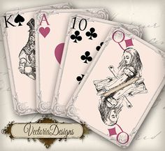 Alice in Wonderland playing cards full deck por VectoriaDesigns, $3.95