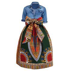 Naya African Print Dashiki Midi Skirt with Sash (Green)