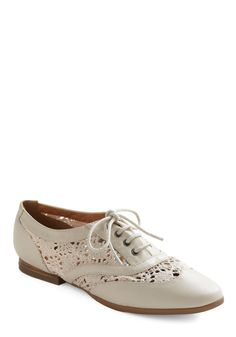 Lace Under Pressure Flat - White, Crochet, Cutout, Lace, Casual, Menswear Inspired