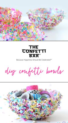 Learn how to make these magical, colorful confetti bowls! (Includes a video tutorial!)
