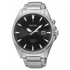Seiko Kinetic Stainless Steel Black Dial Date Mens Watch Model - SKA565P1