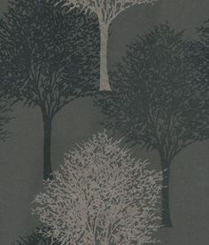 Entice (110099) - Harlequin Wallpapers - A beautiful overlapped tree design with a bead effect showing in pale gold beads and black on dark grey/black - other colour ways available. Please request a sample for true colour match. Non-woven product but please paste the paper.