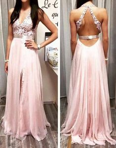 long prom dress, lace prom dress, open back prom dress, formal prom dress, v-neck prom dress, elegant prom dress, evening dress, PD11110