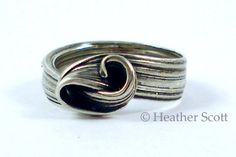 Mitsuro Wave Ring Hand Formed Cast Sterling Silver Size
