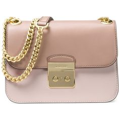 Michael Kors Women's Colorblock Leather Shoulder Bag (860 BRL) ❤ liked on Polyvore featuring bags, handbags, shoulder bags, pink, brown leather shoulder bag, pink leather handbags, genuine leather handbags, pink leather purse and leather shoulder handbags