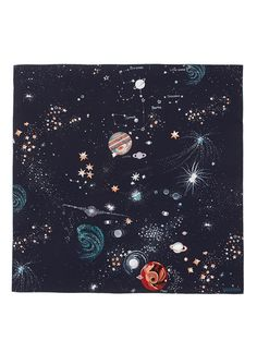 VALENTINO - Cosmos star print silk scarf | Blue Silk/Satin/Chiffon Scarves & Wraps | Womenswear | Lane Crawford - Shop Designer Brands Online