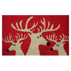 Christmas Reindeer Rubber Backed Coir Door Mat Cone Christmas Trees, Christmas Candle, Red Christmas, Christmas Crafts, Christmas Decorations, Xmas, Christmas Ideas, Christmas Doormat, Woodland Christmas