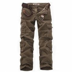 ChArmkpR Mens Military Outdoor Loose Large Size Cotton Multi-pockets Cargo Pants at Banggood