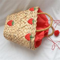 New straw bag handmade strawberry decorative summer handbag fashion Joker women's bag Fashion Handbags, Fashion Bags, Summer Handbags, Fabric Textures, Gourds, Straw Bag, Reusable Tote Bags, Shapes, Models